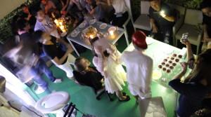 ルーフバルコニーでワインディナー